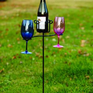 Wine Glass & Bottle Stake USA